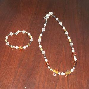KR brown crystal necklace/bracelet set
